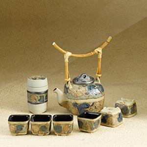 6 Cups Tea Set - Leaves Design