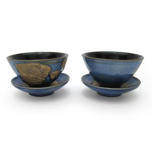 Pair of Tea Cups and Saucers - Leaves Design