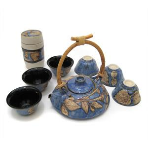 Tea Set with 1 Tea Pot, 6 Cups and 1 Tea Caddy - Leaves Design