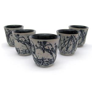 Set of 5 Sake Cups - Twigs Design