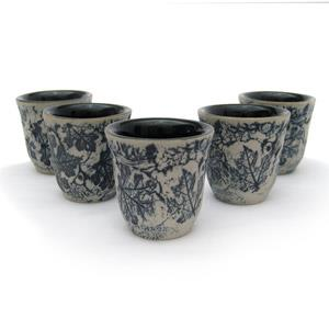 Set of 5 Sake Cups - Leaves Design