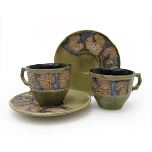 Pair of Coffee/ Tea Cup and Saucer - Leaves Design