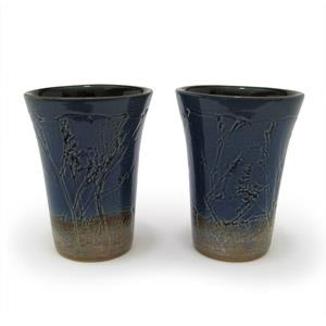 Set of 2 Tumblers or Japanese Beer Mugs - Twigs Design