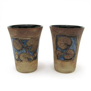 Set of 2 Tumblers or Japanese Beer Mugs - Leaves Design