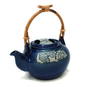 Coffee/ Tea Pot with Cane Handle - Leaves Design