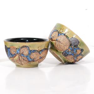 Set of 2 Tea Bowls – Leaves Design