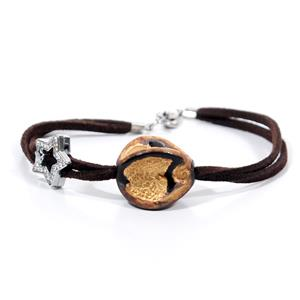 Gold Collection Bracelet with Charm - Leaves Design