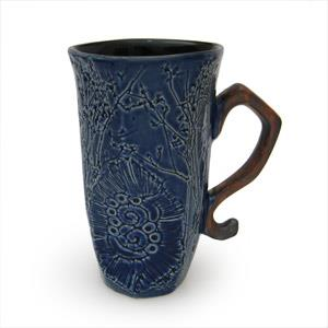 Tall Mug, Octogonal Shape - Twigs Design