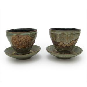 Pair of Tea Cup and Saucers - Leaves Design