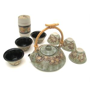 Tea Set with 1 Tea Pot, 6 Cups and 1 Tea Caddy - Flower Design