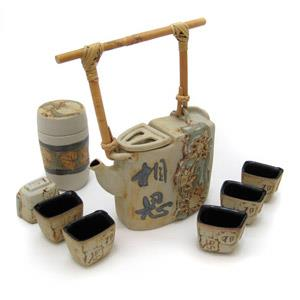 Tea Set with 1 Tea Pot, 6 Cups and 1 Tea Caddy - Chinese Character Design